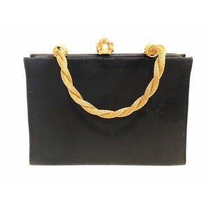 Vtg Evening Bag Blk Canvas Gold Metal Rope Handle